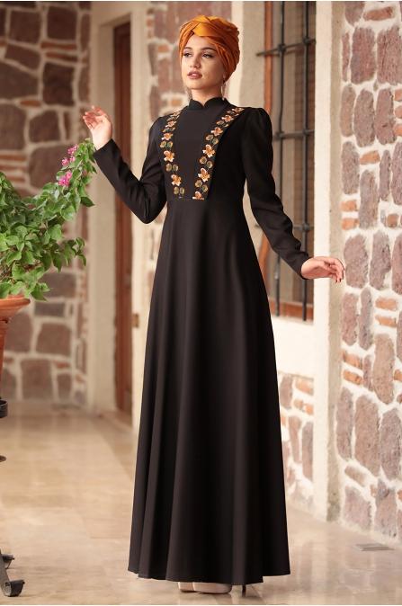 Piennar - Önü Nakışlı Elbise - Siyah