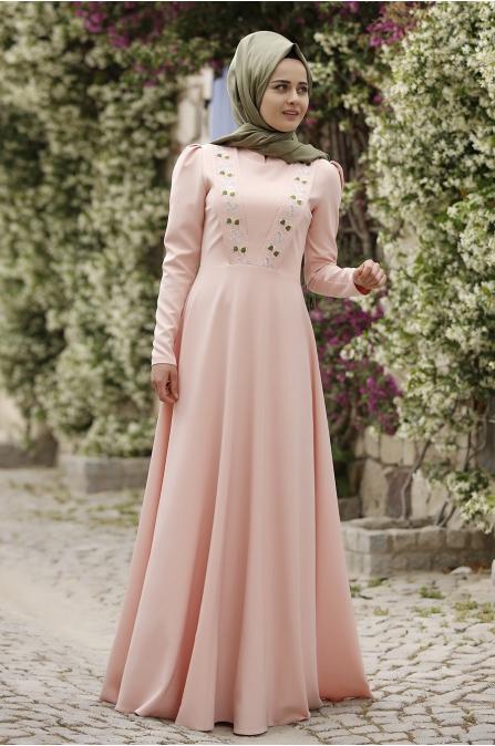 Piennar - Önü Nakışlı Elbise - Pudra
