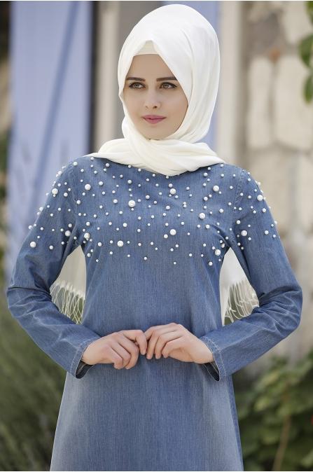 Piennar - İncili Kot Elbise - Koyu Mavi