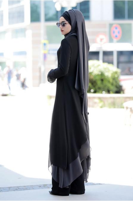 Havin Tunik Pantolon Takım - Siyah - Piennar