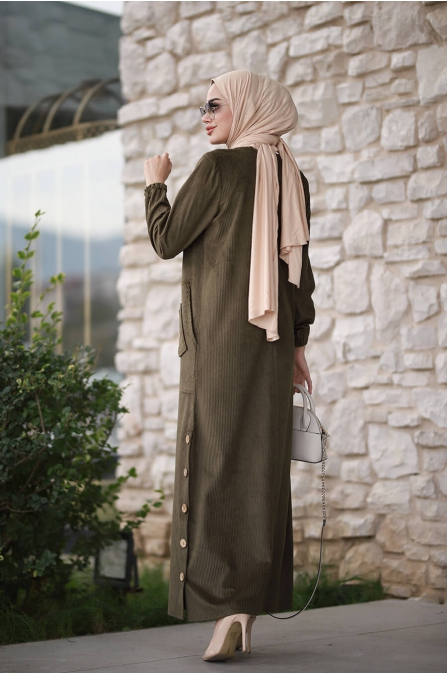 Rengin Kadife Elbise - Haki - Piennar