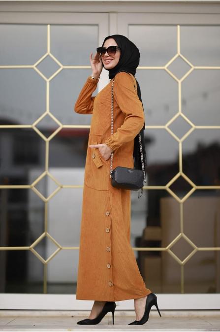 Rengin Kadife Elbise - Hardal - Piennar