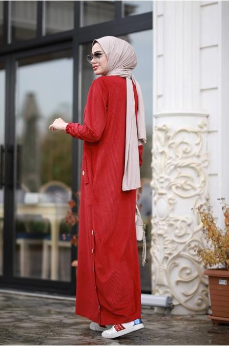 Rengin Kadife Elbise - Kırmızı - Piennar