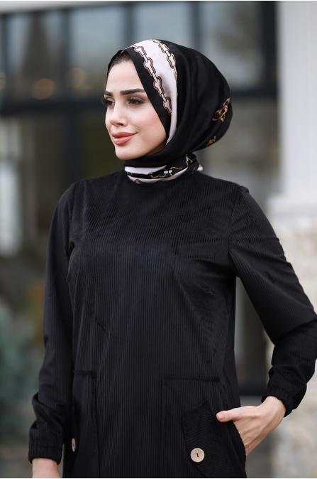 Rengin Kadife Elbise - Siyah - Piennar