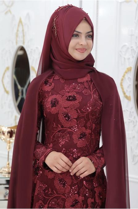 Çiçekli Hüma Abiye - Bordo - Pınar Şems