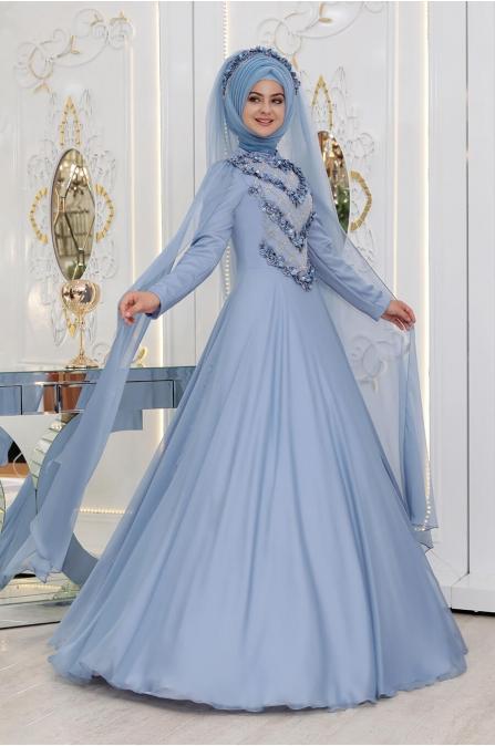 Gelincik Abiye - Mavi - Pınar Şems