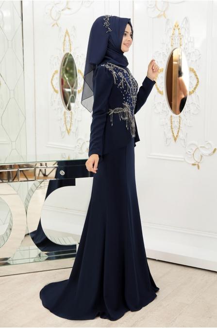 Hürrem Tesettür Abiye - Lacivert - Pınar Şems