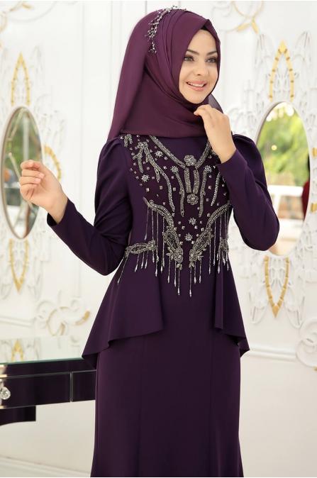 Hürrem Tesettür Abiye - Mor - Pınar Şems