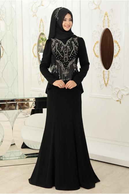 Hürrem Tesettür Abiye - Siyah - Pınar Şems