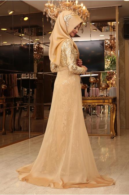 Kalem Kuyruklu Abiye - Gold - Pınar Şems