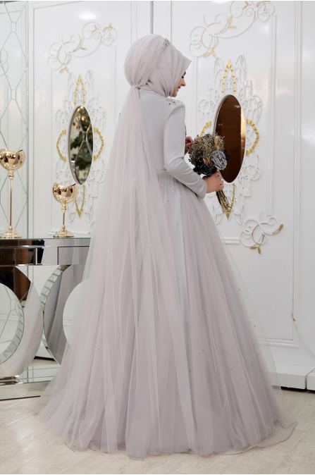 Prenses Abiye - Gri - Pınar Şems