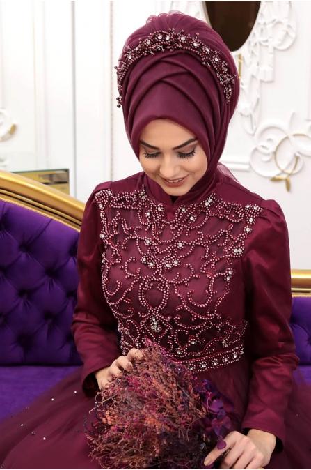 Prenses Abiye - Vişne - Pınar Şems