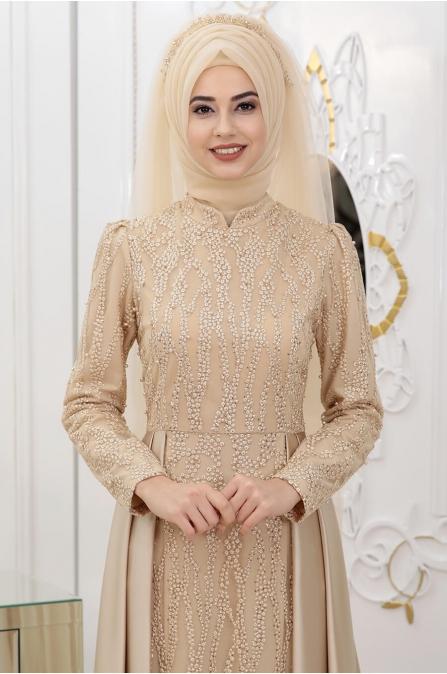 Yeni İkbal Abiye - Gold - Pınar Şems