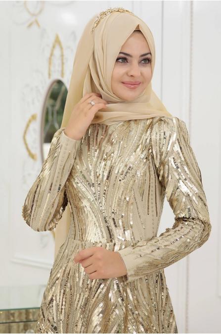 Yosun Tesettür Abiye - Gold - Pınar Şems