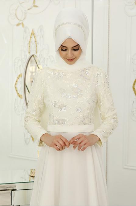 Çiğdem Abiye - Ekru - Pınar Şems