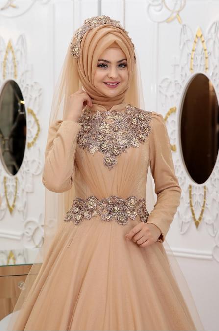 Simli Sahra Abiye - Gold - Pınar Şems