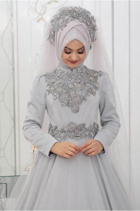Simli Sahra Abiye - Gri - Pınar Şems