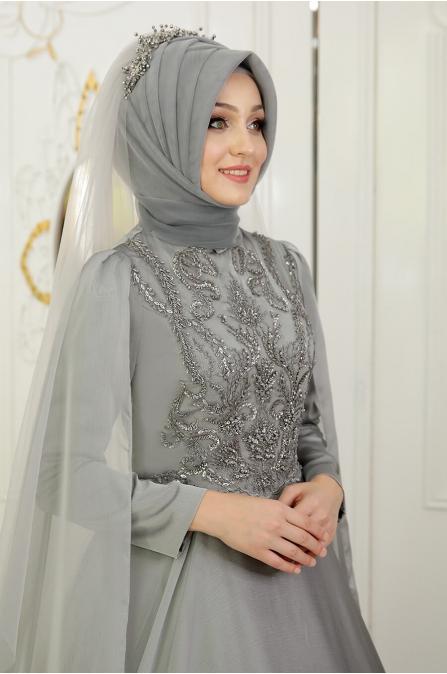 Yeni Beste Abiye - Gri - Pınar Şems