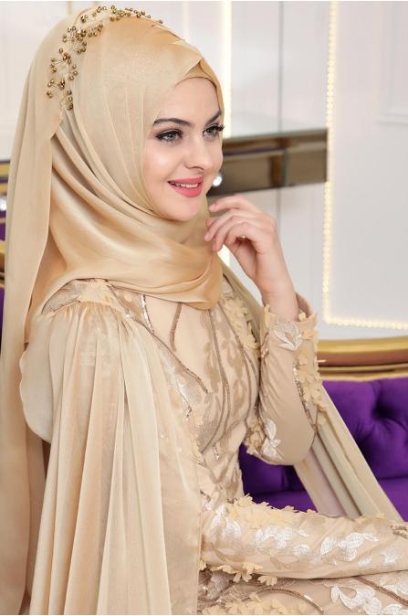 Pınar Şems - Yaprak Abiye - Gold
