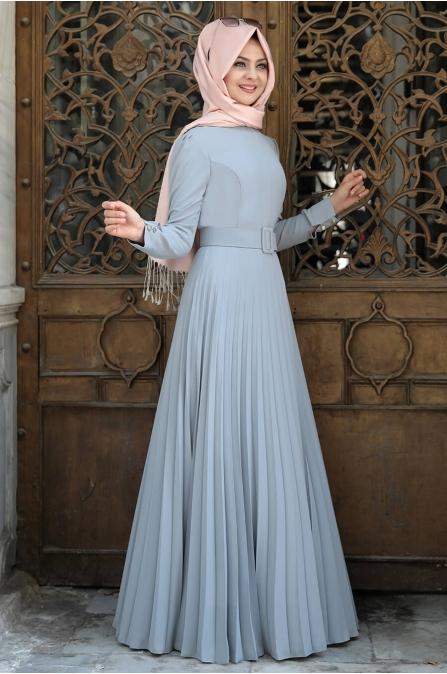 Piliseli Elbise Gri - Pınar Şems