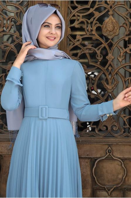 Piliseli Elbise Mavi - Pınar Şems