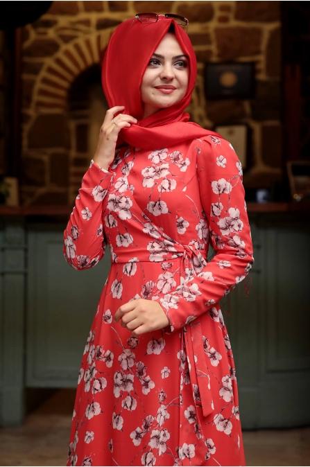 Bahar Elbise - Kırmızı - Pınar Şems