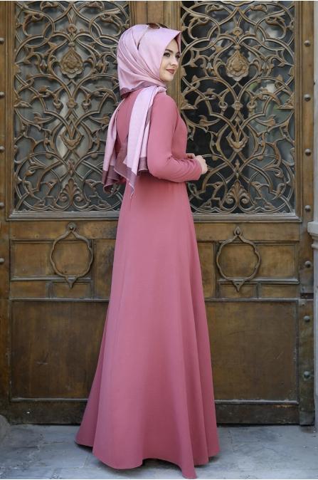 Cepkenli Elbise - Gül Kurusu - Pınar Şems