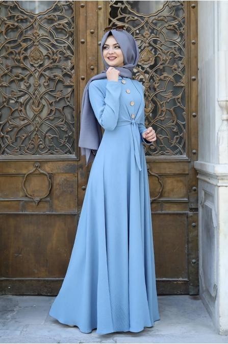 Cepkenli Elbise - İndigo - Pınar Şems