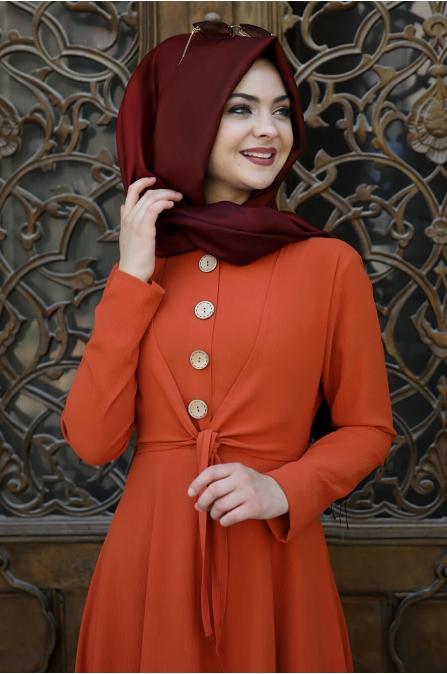Cepkenli Elbise - Kiremit - Pınar Şems