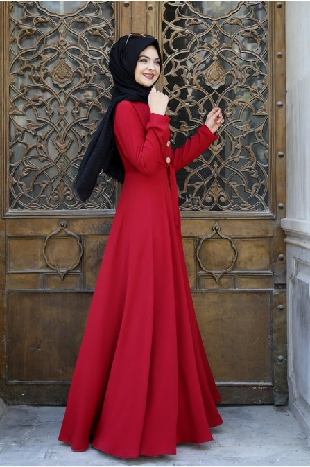 Cepkenli Elbise - Kırmızı - Pınar Şems