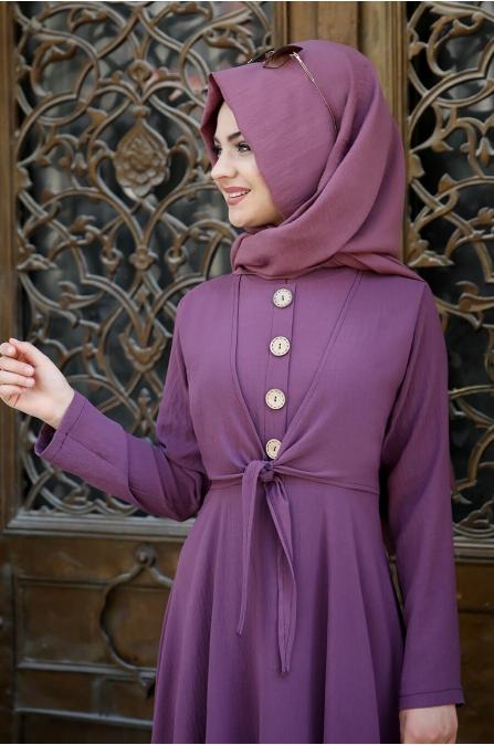 Cepkenli Elbise - Menekşe - Pınar Şems