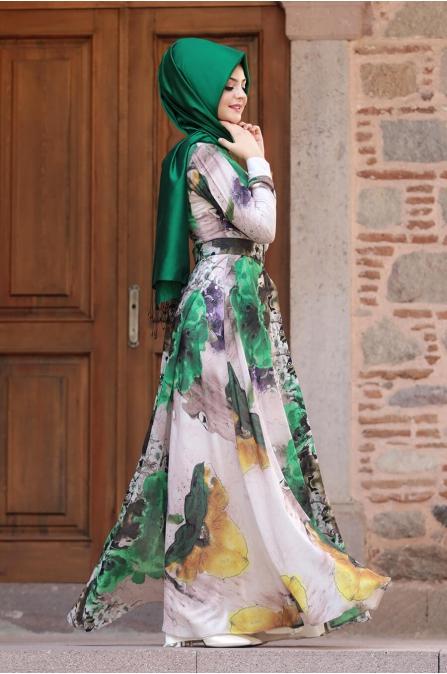 Çırağan Elbise - Zümrüt - Pınar Şems