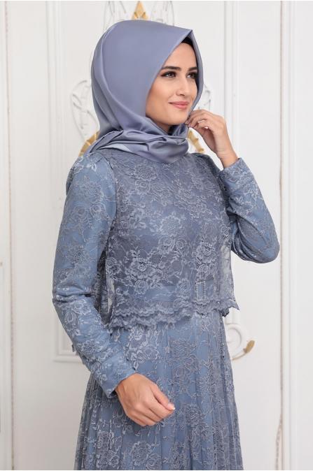 Pelerinli Dantel Elbise - Açık Mavi - Pınar Şems