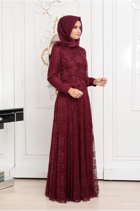 Pelerinli Dantel Elbise - Bordo - Pınar Şems