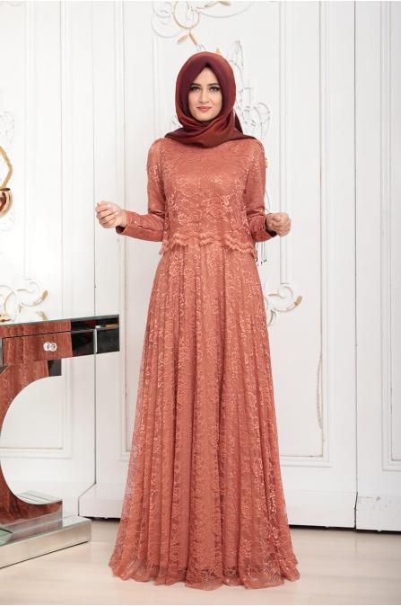 Pelerinli Dantel Elbise - Kiremit - Pınar Şems
