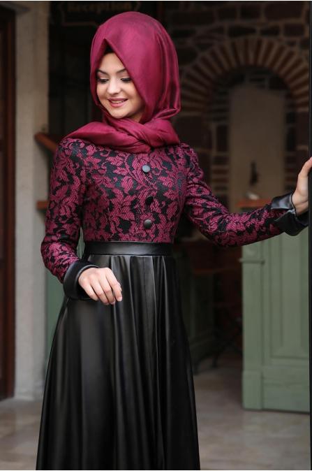 Dantelli Deri Elbise - Bordo - Pınar Şems