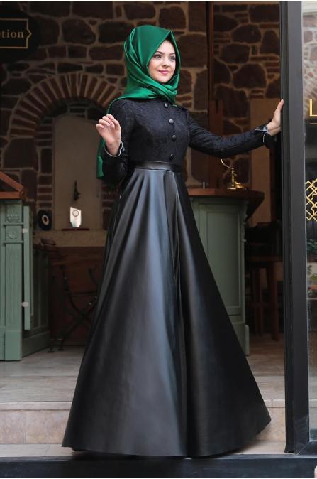 Dantelli Deri Elbise - Siyah - Pınar Şems