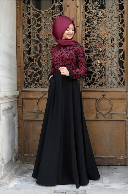 Dantelli Krep Elbise - Bordo - Pınar Şems