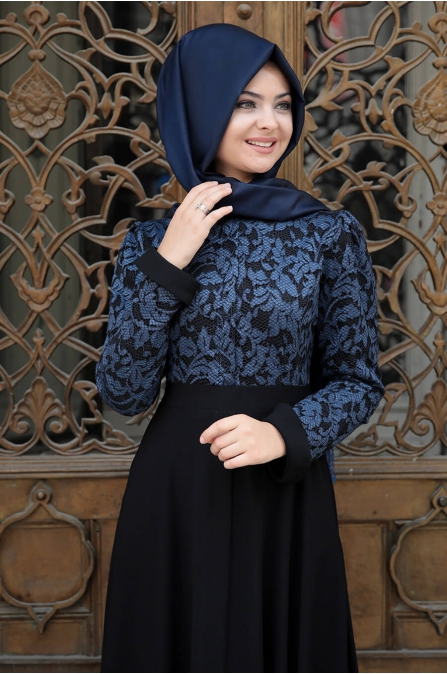 Dantelli Krep Elbise - Lacivert - Pınar Şems