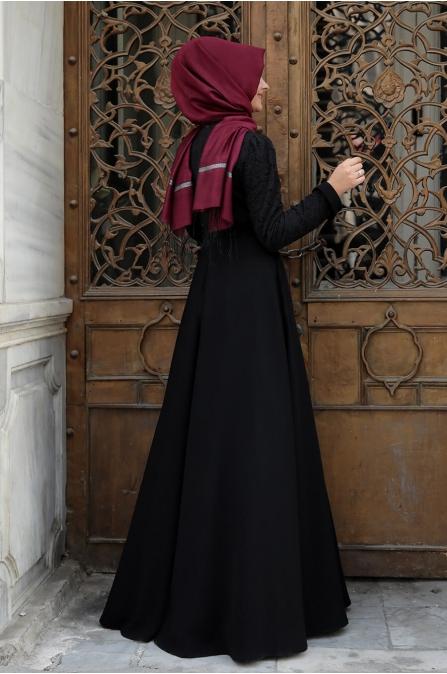 Dantelli Krep Elbise - Siyah - Pınar Şems