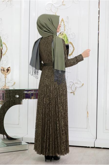 Dantelli Piliseli Elbise - Haki - Pınar Şems