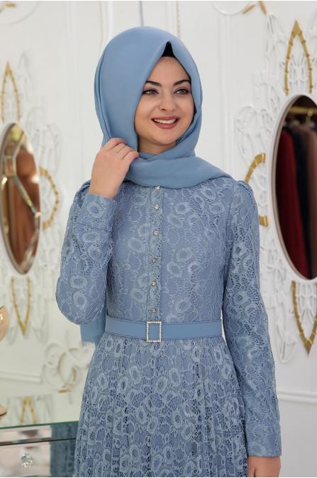 Dantelli Piliseli Elbise - İndigo - Pınar Şems