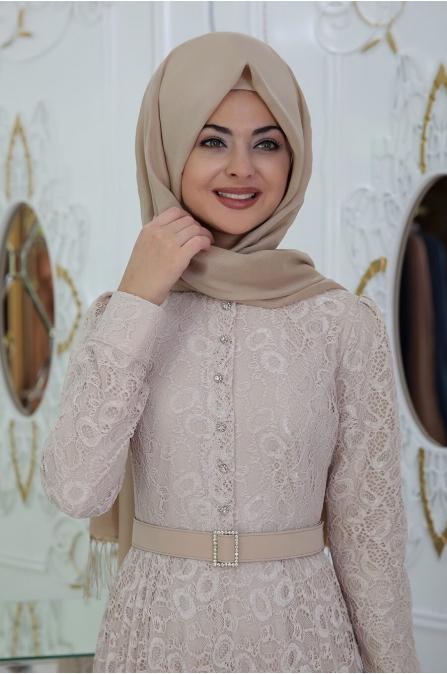 Dantelli Piliseli Elbise - Krem - Pınar Şems