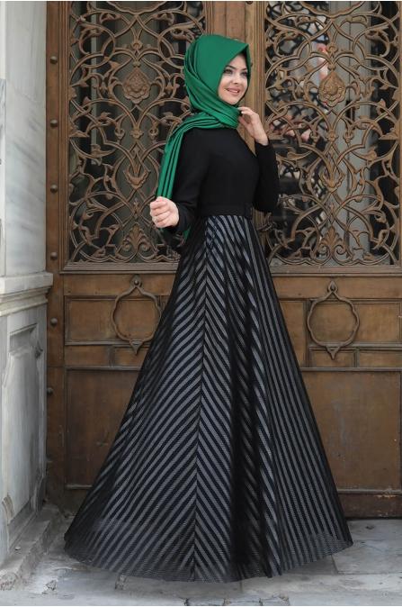 Deri Çizgili Elbise - Siyah - Pınar Şems