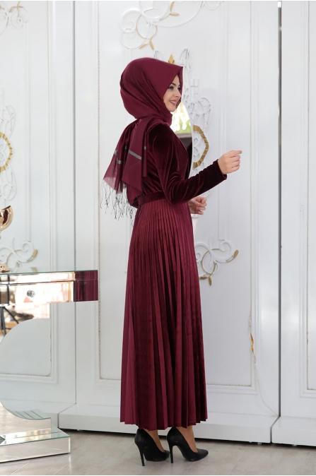 Gökçe Elbise - Bordo - Pınar Şems
