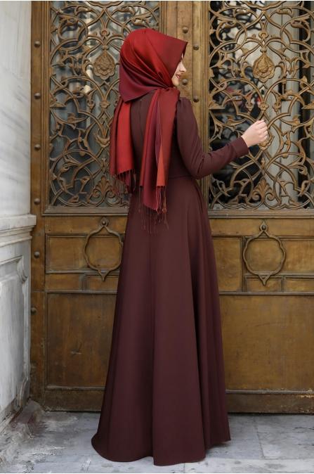 İşlemeli Elbise - Kahve - Pınar Şems