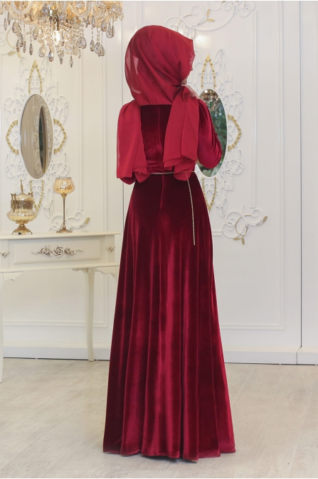 Kadife Elbise - Bordo - Pınar Şems
