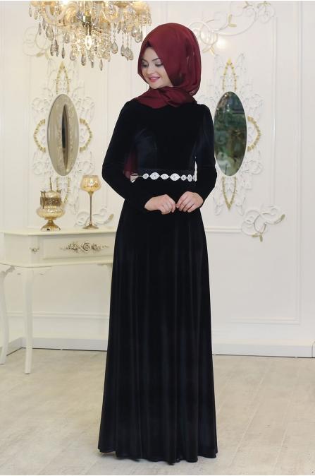 Kadife Elbise - Siyah - Pınar Şems