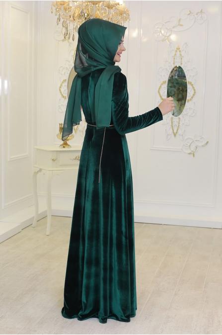 Kadife Elbise - Zümrüt - Pınar Şems