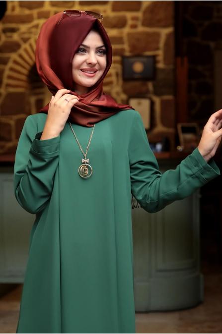 Kolyeli Elbise - Yeşil - Pınar Şems